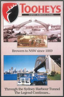 Tooheys Imagery A poster emphasising Tooheys sponsorship of the Sydney Harbour Tunnel construction circa 1992