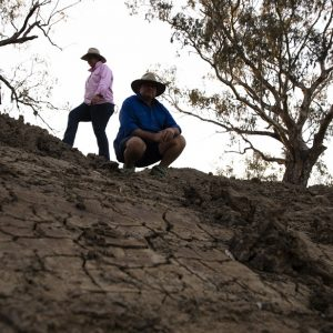 Amanda and Perry Brien on their drought ravaged property. Picture Krystle Wright MUST CREDIT