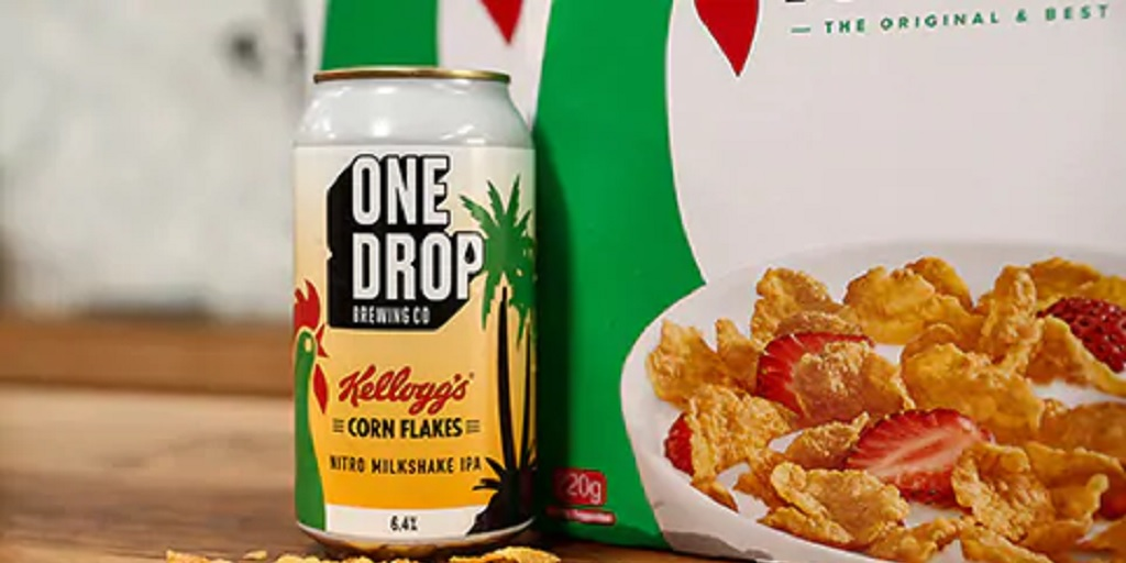 Kelloggs One Drop corn flakes beer
