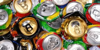 Sustainability recycling cans crushed