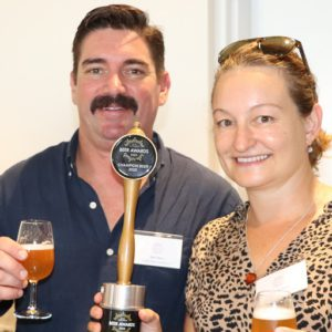 Matt and Shaz from Moffat Beach Brewing Co's with their grand champion beer Moffs Summer Ale Draught