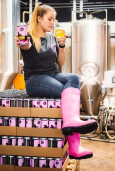 Lexi Russell Martin with the Loosen Your Boots IPA